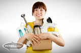 woman with household appliances