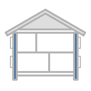 Schematic of a house looking at wall insulation
