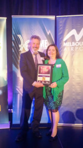 Maurice and Lyn Beinat receive their Sustainability Award for ecoMaster from Hume Business Awards 2017
