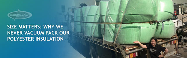 Lyn Beinat and polyester insulation batts for delivery