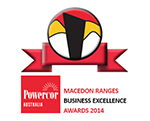 Macedon Ranges Business Excellence Logo 2014 - Red, White, Yellow and Black - Award Winners with Retrofit Solutions