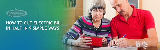 senior couple computing their electric bill